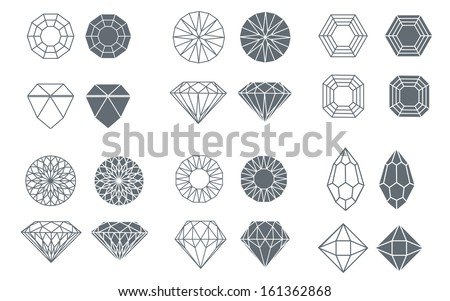 Vector set of diamond design elements - cutting samples - stock vector
