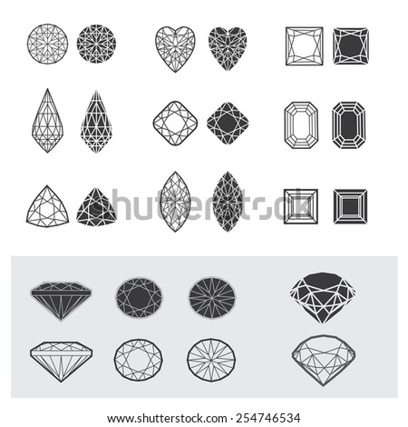 Vector set of diamond design elements - cutting samples - stock vector