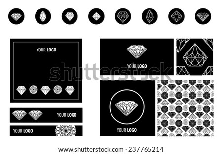Vector set of diamonds design elements - templates for design - stock vector