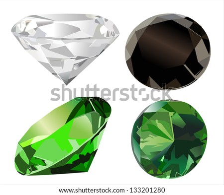Vector set of diamonds of various shapes on a white background - stock vector