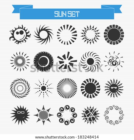 Vector set of different abstract suns for your design - stock vector