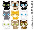Vector Set Of Different Adorable Cartoon Cats Isolated - stock