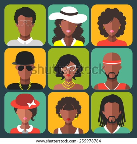 Vector set of different african american women and man app icons in trendy flat style - stock vector