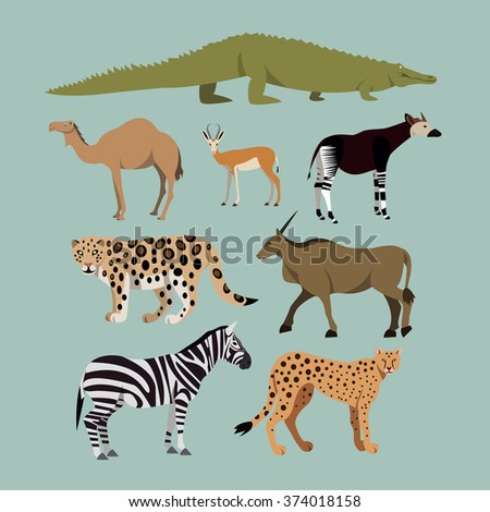 Vector Set Of Different African Animals. Animals of the African savanna Dromedary camel, crocodile, leopard, Okapi, Cheetah, Canna, Zebra, Springbok. - stock vector