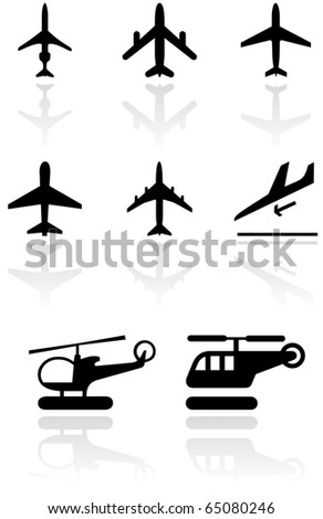 Vector set of different airplane and helicopter symbols. All vector objects are isolated. Colors and transparent background color are easy to adjust. - stock vector