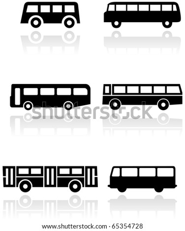Vector set of different bus or van symbols. All vector objects are isolated. Colors and transparent background color are easy to adjust. - stock vector