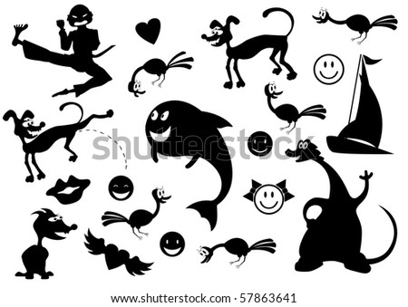 Vector set of different cartoon silhouettes - stock vector