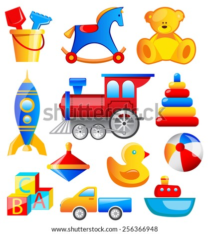 Vector Set Of Different Colorful Toys