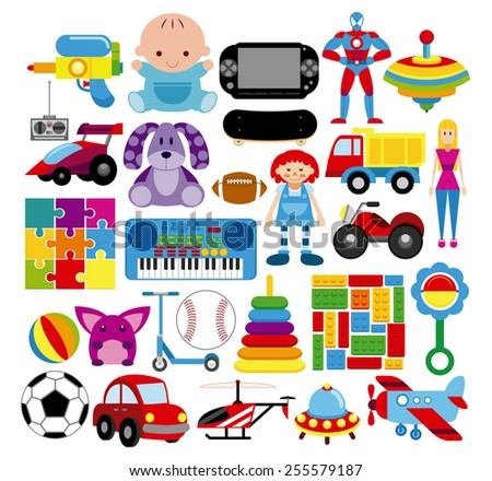 Vector Set Of Different Colorful Toys Isolated