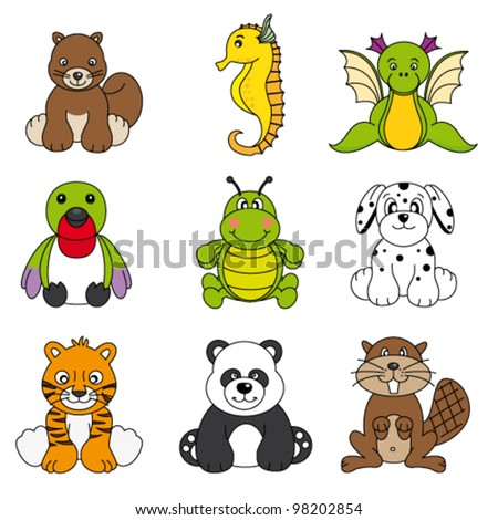 Vector set of different cute animals