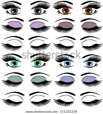 vector set of different eyes with make up - stock vector