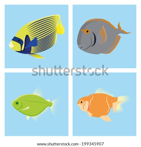 Vector Set Of Different Fishes Isolated On Background