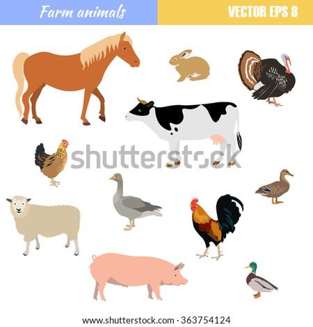 Vector Set Of Different Flat Farm Animals - stock vector