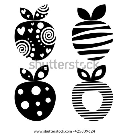 Vector set of different fruits illustrations. Decorative ornamental black and white strawberries isolated on the white background. Series of Fruits Illustrations.