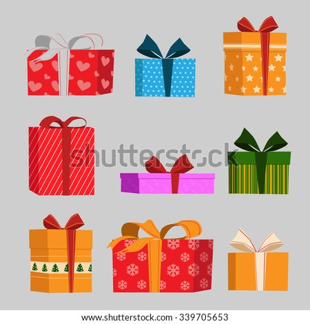 Vector set of different gift boxes. Vector illustration.