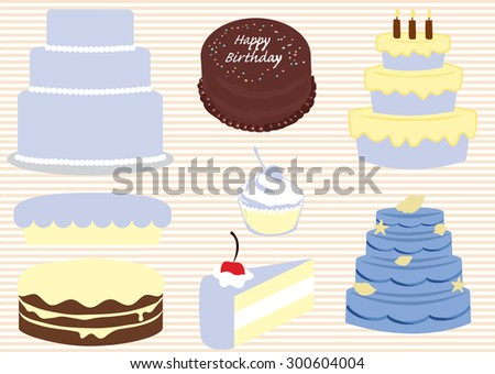Vector set of different gourmet cakes - stock vector