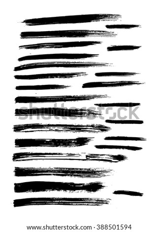 Vector set of 24 different grunge hand paint brush strokes isolated on white background. Vector design grunge elements. Vector abstract brush strokes. Vintage brush strokes. Retro brush strokes. - stock vector