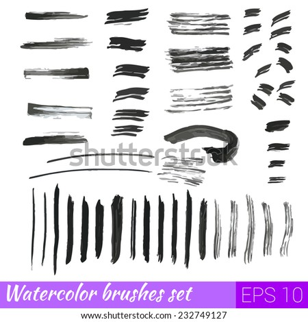 Vector set of different grunge watercolor brush strokes