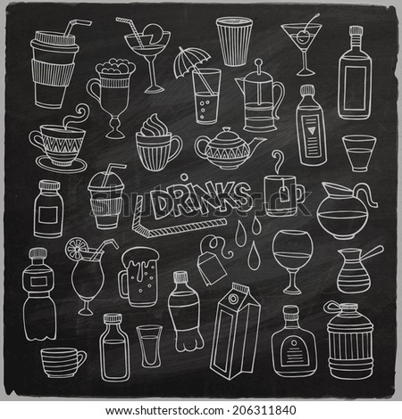 Vector set of different hand drawn beverages on chalkboard. Vector illustration - stock vector