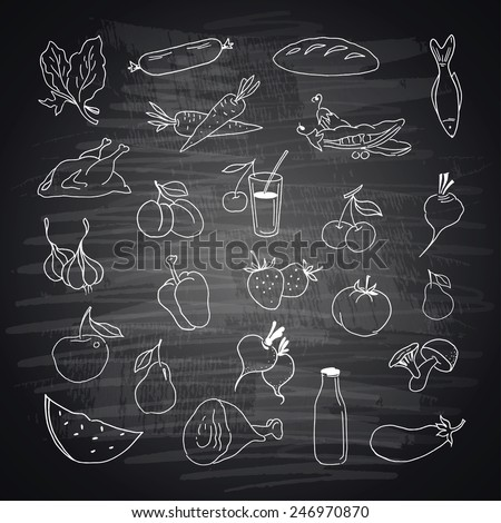 Vector set of different hand drawn food. Fruits and vegetables - stock vector