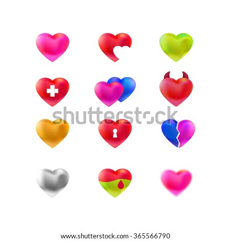 Vector set of different heart logos