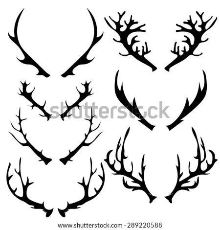 Vector Set of Different Horns Silhouette Isolated on White Background  - stock vector