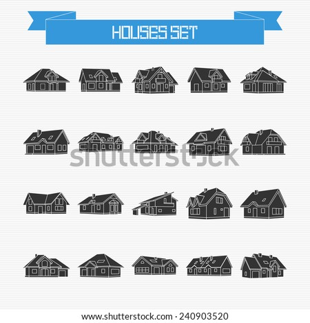 Vector set of different houses and cottages for your design - stock vector