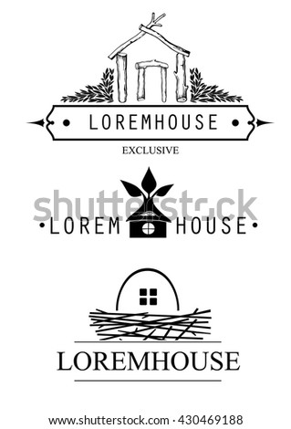 Vector set of different icons logos pattern pieces for construction companies, real estate agencies, businesses. Silhouettes of houses - stock vector