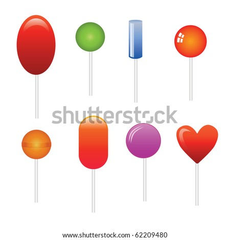 vector set of different lollipop on white background - stock vector
