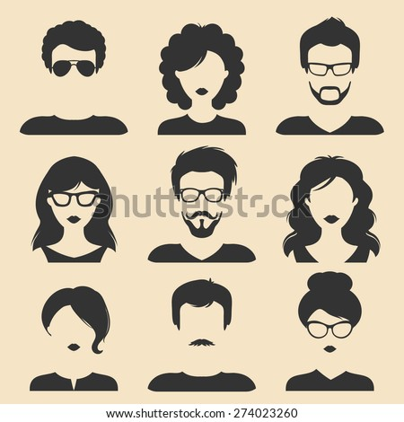 Vector set of different male and female icons in trendy flat style. Flat people faces icon - stock vector