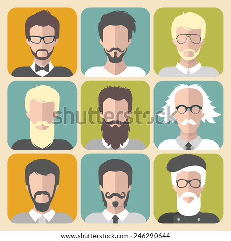 Vector set of different man with beards and moustache app icons in flat style - stock vector