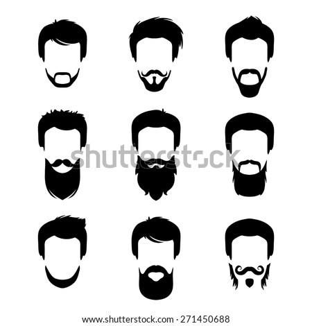 Vector set of different men hipster haircuts, beard, mustache icons in trendy flat style. Flat man faces icon - stock vector