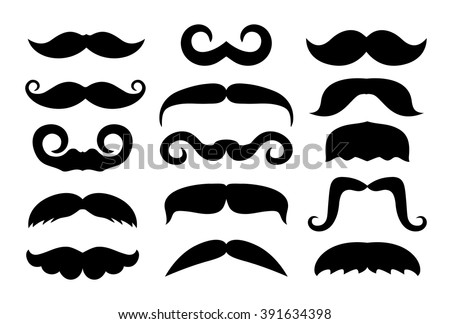 Vector set of different mustache icons.