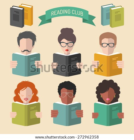 Vector set of different people reading books app icons in trendy flat style - stock vector