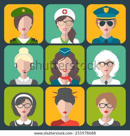 Vector set of different professions woman app icons in trendy flat style - stock vector