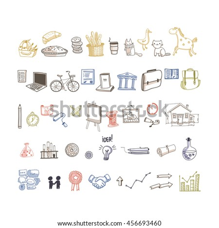 Vector set of different social, food, business, animals and community icons.