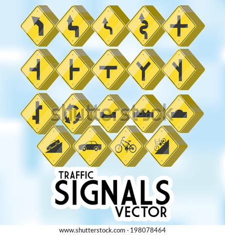 Vector Set Of Different Traffic Signs Isolated