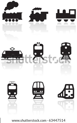 Vector set of different train illustrations or symbols. All vector objects are isolated. Colors and transparent background color are easy to adjust. - stock vector