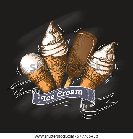 Vector Set of different types of ice-cream on a chalkboard. Sketch