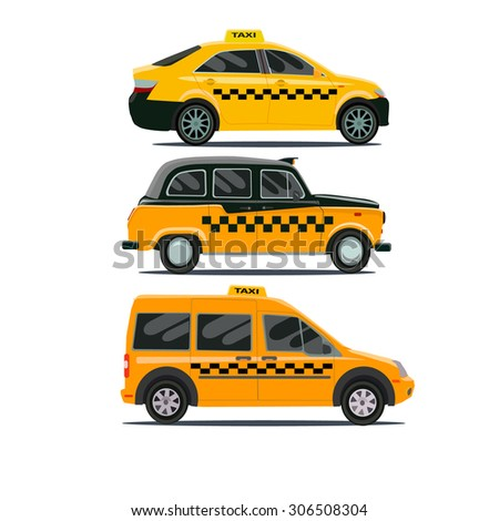 Vector set of different types of taxi cars - stock vector