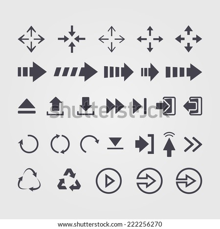 Vector set of different vector arrows over white  - stock vector