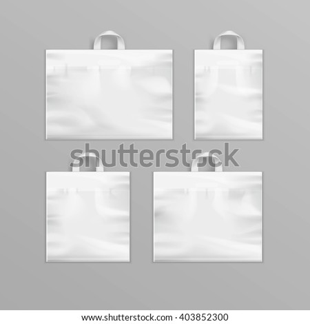 Vector Set of Different White Empty Reusable Plastic Shopping Bags with Handles for package design Close up Isolated on Background - stock vector