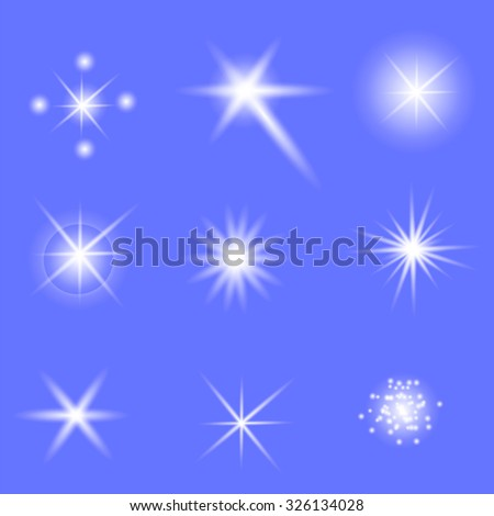 Vector Set of Different White Lights Isolated on Blue Background - stock vector