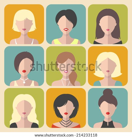 Vector set of different women app icons in flat style - stock vector