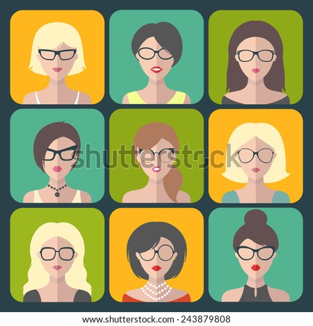 Vector set of different women app icons in glasses in flat style - stock vector