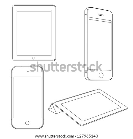 Vector set of Digital devices - stock vector
