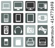Vector Set of Digital Devices Icons. Laptop, Monitor, PC, Mobile, Smartphone, Tablet, Game Consol, Audio Player, Headphones, Camera, Joystick, SIM-card, Memory Card, Printer, Scanner. - stock vector