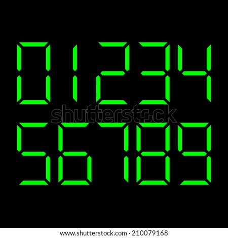 vector set of digital green numbers on black background - symbol of time, clock, count, display and electronics - stock vector