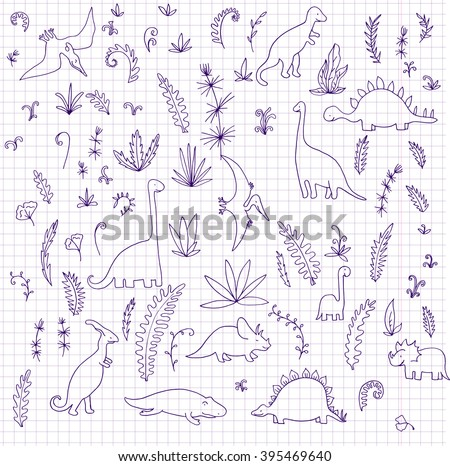 vector set of dinosaurs and prehistoric plants drawing by ink at paper, hand drawn background - stock vector