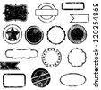 Vector Set of Distressed Stamps - stock vector